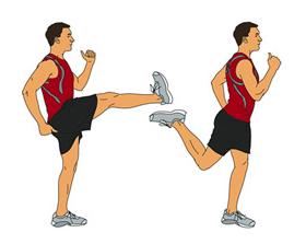 Динамичен стречинг - махове с крака